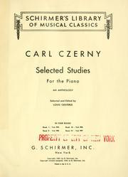 Cover of: Selected studies for the piano: an anthology