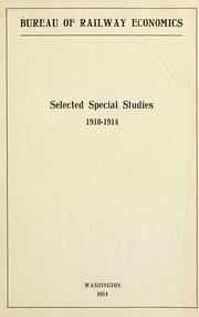 Cover of: Selected special studies, 1910-1914