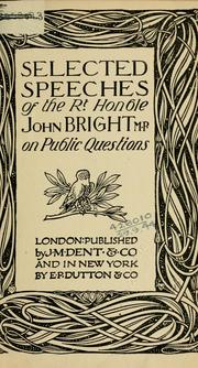 Cover of: Selected speeches on public questions