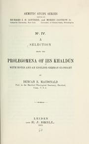 Cover of: A selection from the Prolegomena of Ibn Khaldun