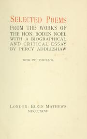Cover of: Selected poems from the works of the Hon. Roden Noel