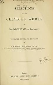 Cover of: Selections from the clinical works of Dr. Cuchenne (de Boulogne)