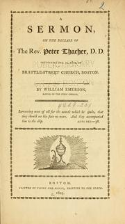 Cover of: A sermon on the decease of the Rev. Peter Thacher by Emerson, William