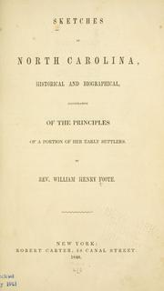 Cover of: Sketches of North Carolina, historical and biographical