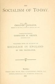Cover of: socialism of today | Emile de Laveleye