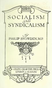 Cover of: Socialism and syndicalism