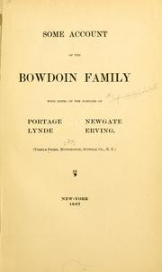 Some account of the Bowdoin family by Temple Prime