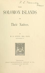 Cover of: Solomon Islands and their natives | Guppy, H. B.