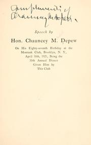 Speech by Hon. Chauncey M. Depew