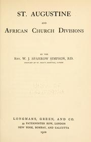 Cover of: St. Augustine and African church divisions | W. J. Sparrow-Simpson