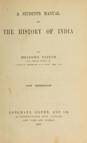 Cover of: A student's manual of the history of India