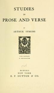 Cover of: Studies in prose and verse