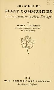 The study of plant communities by Henry John Oosting