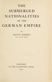 Cover of: The submerged nationalities of the German empire