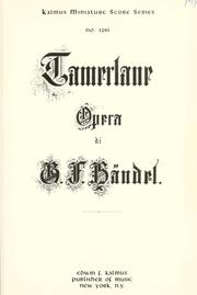 Cover of: Tamerlano | George Frideric Handel