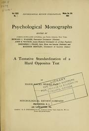 Cover of: A tentative standardization of a hard opposites test
