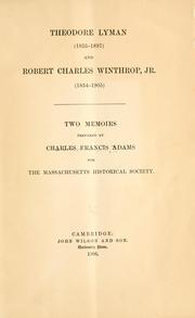 Cover of: Theodore Lyman (1833-1897) and Robert Charles Winthrop, jr. (1834-1905)