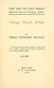 Cover of: Things worth while
