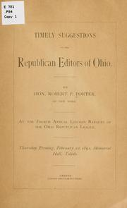 Cover of: Timely suggestions to the Republican editors of Ohio