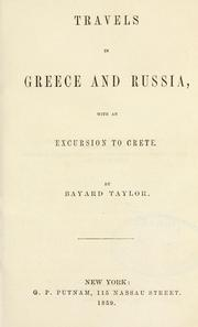 Cover of: Travels in Greece and Russia, with an excursion to Crete