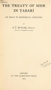 Cover of: The treaty of Misr in Tabari | Alfred J. Butler