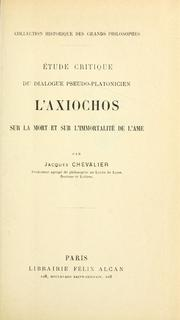 Cover of: Étude critique du dialogue pseudo-platonicien l'Axiochos