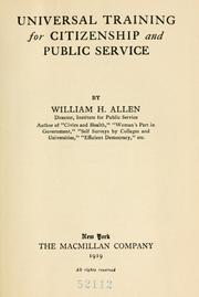 Cover of: Universal training for citizenship and public service | Allen, William H.