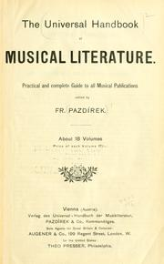 Cover of: The Universal handbook of musical literature. by Ed. by Fr. Pazdírek.