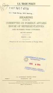 Cover of: U.S. trade policy