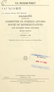 Cover of: U.S. nuclear policy