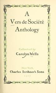 Cover of: A vers de société anthology