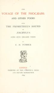 Cover of: The voyage of the Phocæans: and other poems, with the Prometheus bound of Æschylus done into English verse
