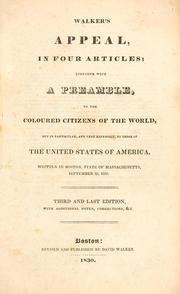 Cover of: Walker's appeal, in four articles