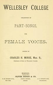 Wellesley College collection of part-songs for female voices