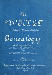 Cover of: Willet (Willets--Willett--Willits) genealogy | Bookstäver, Jacob Edgar