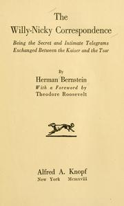 Cover of: The Willy-Nicky correspondence by Herman Bernstein