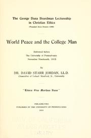 Cover of: World peace and the college man