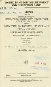 Cover of: World Bank disclosure policy and inspection panel