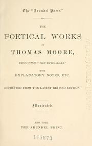 "Cover of: The poetical works of Thomas Moore, including the ""The Epicurean."""