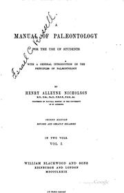 Cover of: A manual of palæontology for the use of students with a general introduction on the principles of palæontology