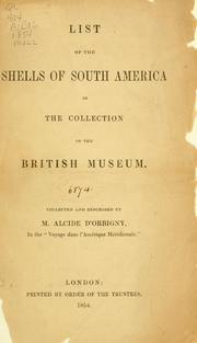 Cover of: List of the shells of South America in the collection of the British Museum