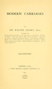 Cover of: Modern carriages | Gilbey, Walter Sir
