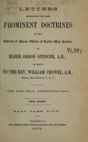 Cover of: Letters exhibiting the most prominent doctrines of the Church of Jesus Christ of Latter-day Saints