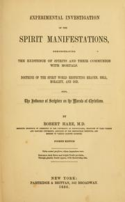 Cover of: Experimental investigation of the spirit manifestations ..