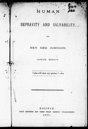 Cover of: Human depravity and salvability