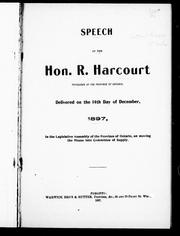 Speech of the Hon. R. Harcourt, treasurer of the province of Ontario by Richard Harcourt