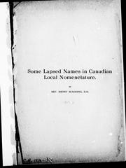 Cover of: Some lapsed names in Canadian local nomenclature