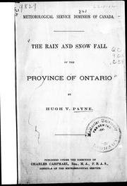 Cover of: The rain and snow fall of the province of Ontario |