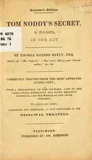 Cover of: Tom Noddy's secret by Thomas Haynes Bayly