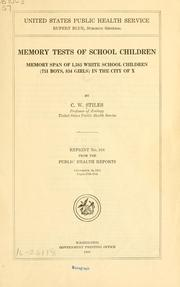 Cover of: Memory tests of school children